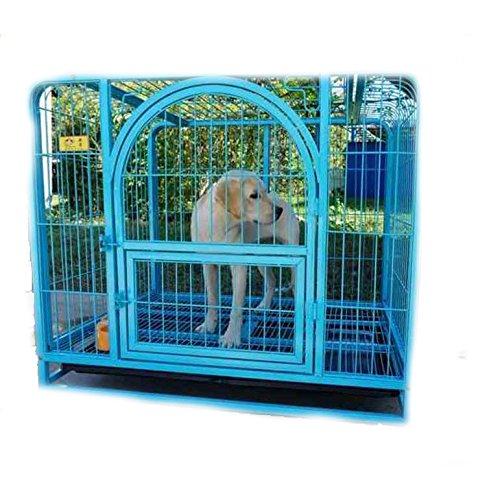 SL&ZX Haustier Hund Käfig,Klappbarer Metall hundebox Große Hund Goldene kiste Hoher Hund laufstall Haustier Einzeltür-Home-Training-kiste Indoor Outdoor-Zelt-Zaun-Cyan-Blau 96x65x82cm(38x26x32inch)