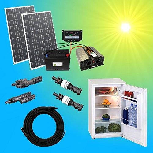 Komplette 220V Kühlschrank Solaranlage TÜV mit 100Ah Akku + 200W Solarmodul 1000W Spannungswandler...