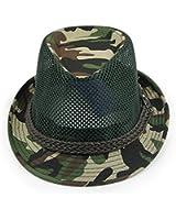 LOCOMO Camouflage Military Breathable Mesh Fedora Short Upturn Hat FFH261DGRN