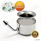 IndoSurgicals Stainless Steel Ayurvedic Jala Neti Pot for Sinus Congestion with 10 Sachet of Salt