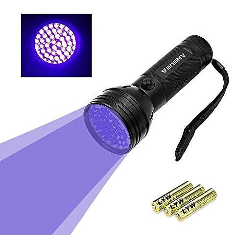 Lampe de poche lumière noire Vansky® UV avec 51 LED | Détecteur d'urine pour animaux séchés dans souille vos chiens, les chats et les rongeurs sur les tapis, les rideaux, les meubles et autres matériaux | incl. batteries 3xAA [Classe énergétique A]