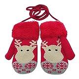 Happy Event Kleinkind Baby Winter Weihnachtskarikatur Rotwild SAMT Gestrickte Handschuhe (Rot)