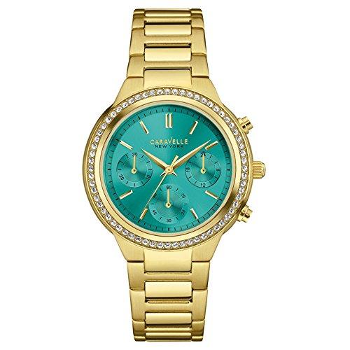 Caravelle New York Oro Boyfriend–Reloj de cuarzo para mujer con verde Cronógrafo y oro pulsera de acero inoxidable 44l215