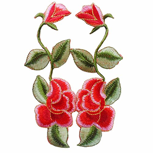 fjtang 1Paar Kleidung Stickerei Flower Patch Embroidered Iron on Patches Aufkleber Garment Applikationen DIY Zubehör (10cm) Farbe E