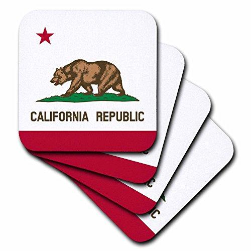 3drose Flagge von Kalifornien Republik–US American State–Vereinigten Staaten von Amerika–Der Bär Flagge weiß rot–Soft-Untersetzer, Set 4(CST _ 158295_ 1)