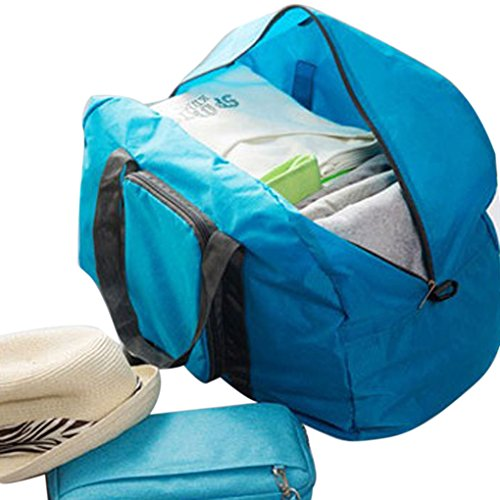 FakeFace Nylon Faltbare Schultertasche Wasserdichte Umhängetasche Shopper für Reisen Camping Wandern Sport Shopping (Blau) Blau