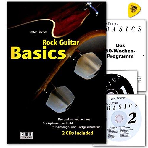 Rock Guitar Basics–La Amplia Nueva metodología Rock Guitarra para principiantes y con 2CDs y Dunlop Púa–Ama 610143978392719040