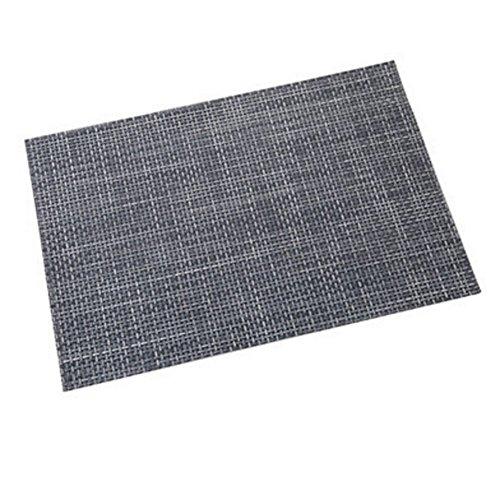Leisial Sets de Table Napperons Tressés en PVC et Polyester Tapis de Table Imperméable Antidérapant Isolation Tapis Lavable(Bleu)