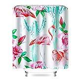 SearchI SearchI Duschvorhang Wasserdicht 180x180cm Duschvorhänge Anti-Bakteriel Badvorhänge 3D Digitaldruck Waschbar Duschvorhänge mit 12 Duschvorhangringe für Badezimmer Kinder (Flamingo-Kaktus)