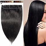 Extension a Clip Cheveux Naturel Rajout Monobande Une Pièce 100% Cheveux Humain Vrai Cheveux Remy #01 Noir - 50CM(50g)
