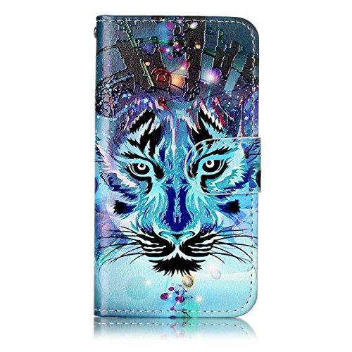 iPod Touch 5 / Touch 6 Hülle, Chreey [Geprägte Muster] Kratzfestes Flip Case Ledertasche Magnet Klapp Etui Handyhülle [Wolf] + Brieftasche Kartenfächer Ständer