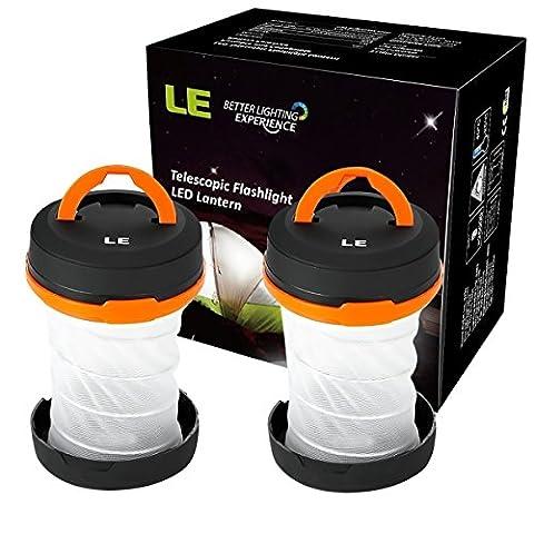 LE Lot de 2 Lanterne de Camping LED portable, 3Modes+ 2Fonctions, Etanche, 6000K Blanc du jour, Activités en Extérieur comme la Randonnée, Camping, Trail[Classe énergétique A+]