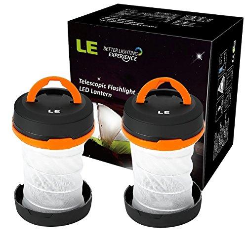 LE Laterne Zusammenklappbare led Taschenlampe mini LED Notfallleuchte 3 Helligkeiten Aussenleuchte für Camping Outdoor Wandern Angeln Abenteuer Campinglampe Ausfälle (2 er)