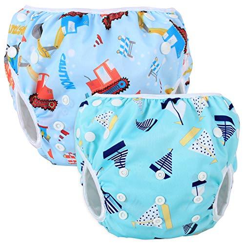 Teamoy 2-teilig Baby Schwimmhose Badewindelhose Badehose (Tool Car + Blue Sailboat)