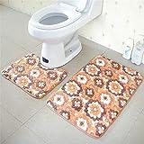 OOFAYWFD Thick Coral Fleece Badezimmer Zweiteilige Badezimmer Anti-Rutsch-Matte WC Zweiteilige Teppich Matte,5