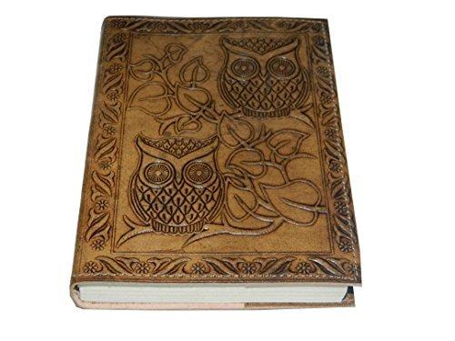 M&N Handgefertigtes Leder-Tagebuch mit Eulen-Prägung, nachfüllbar, 7 x 5 blanko, gegerbte Farbe für Damen und Herren