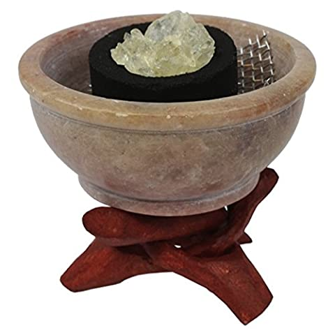 Brule-encens pierre forme chaudron - lot de