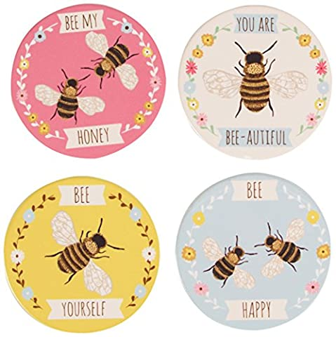 Sass & Belle Ceramic Top and Cork Base Bee Coaster, Set of 4, Multi-Colour