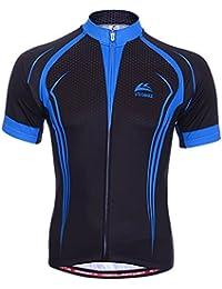 Dopobo Sport Maillots noir&bleu manches courtes- --homme respirable chemise pour cyclisme /VTT/sport de plein air avec fermeture zippé (extra large)