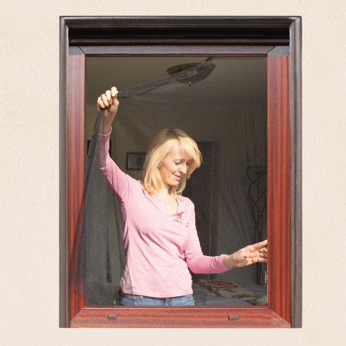 JAROLIFT Moustiquaire pour fenêtre | 130 x 150cm | noire | Lot de 2