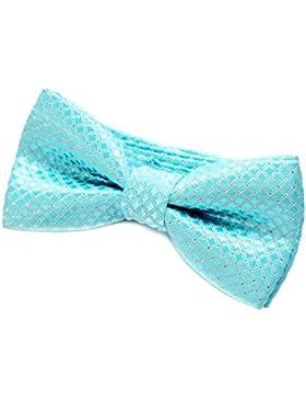 DonDon pajarita noble para niños chico - combinada y ajustable 9 x 4,5 cm - de color azul - brillada con argénteo...