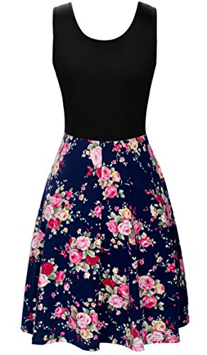 KorMei Damen Ärmelloses Beiläufiges Strandkleid Sommerkleid Tank Kleid Ausgestelltes Trägerkleid Blau Rose Blume XL