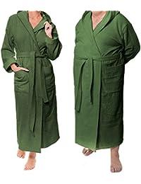 """UNISEX PRESTIGE exclusivo albornoz con capucha, para ambos - desde la Sophie Bernard colección """"Baño y Spa"""". 100% puro Rizo, 430 gf/sqm. Feel at ease! S-Size / verde oscuro"""