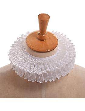 GRACEART Vittoriano Increspatura Collare Sciarpa con Grigio Pizzo