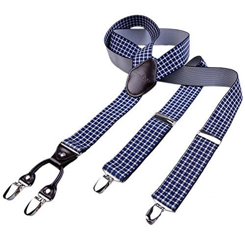 DonDon Bretelle uomo 35 di larghezza con 4 clip pelle marrone forma di Y elastiche e regolabili bianche e blu