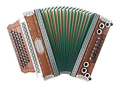 "Alpenklang 4/III Harmonika ""Deluxe"" G-C-F-B Nuss (4-reihig, 3-chörig, grüner Balg, Beschläge aus Altsilber, 46 Knopftasten, X-Bass, 16 Helikon-Bässe, inkl. Trageriemen, Balgschoner und Koffer)"