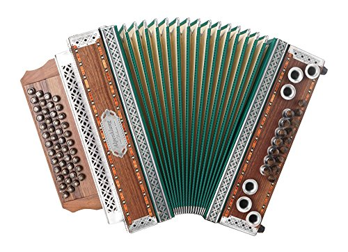 "Alpenklang 4/III Harmonika""Deluxe"" G-C-F-B Nuss (4-reihig, 3-chörig, grüner Balg, Beschläge aus Altsilber, 46 Knopftasten, X-Bass, 16 Helikon-Bässe, inkl. Trageriemen, Balgschoner und Koffer)"