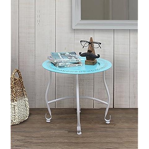 Store Indya, Inicio Decoracion de muebles Ronda marroqui azul bandeja Mesita de noche Fin de cafe otomana taburete vector con la placa extraible y soporte