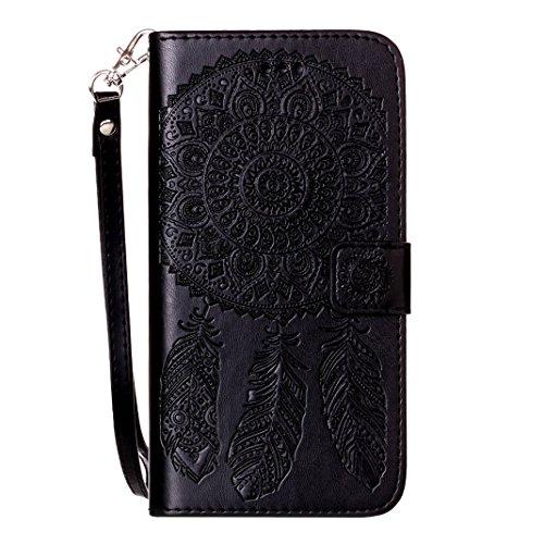 iPhone 7 Wallet Case, iPhone 7 Flip Case, Hülle iPhone 7 Leder Case mit Lanyard ,Moon mood® Gold Ledertasche Brieftasche für iPhone 7 (4.7 Zoll) ,PU Leder Hülle Wallet Case Folio Schutzhülle Scratch W B-Schwarz