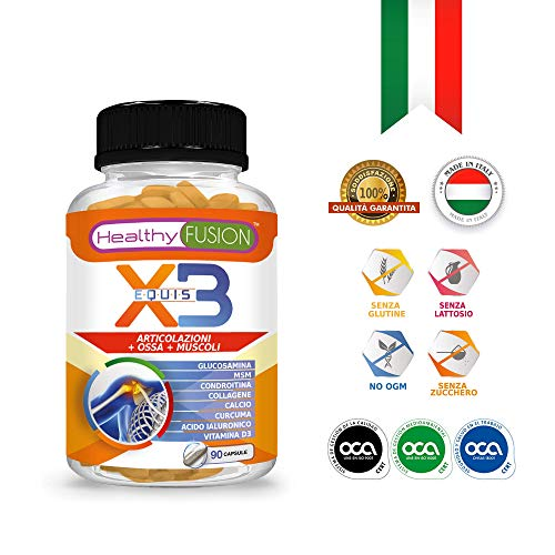 Elimina il dolore e l\'infiammazione | Potente antinfiammatorio con Curcuma + Collagene Idrolizzato + Condroitina + Glucosamina + Acido Ialuronico + MSM + Calcio + Vitamina D3 | 90 capsule