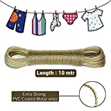 #8: Ivaan Heavy Quality Clothesline Wet Cloth Laundry Rope PVC Coated Metal Cloth Drying Wire - 10 Metres (Multicolour)