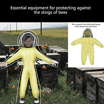 Zerodis Beekeeping Suit with Veil Protective Bee Suit for Kids,Professional Beekeeping Jumpsuit Bee Visitor Cotton Long Sleeve Children Protection Bee Keeping Supplies(M) 5