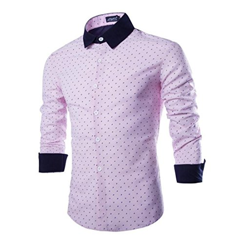 Men's High Quality Printed Turndown Collar Long Sleeve Slim Fit Shirts pink
