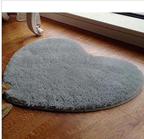 Kooco Creative Lovely Forme de cœur Hot Home Fluffy Tapis antidérapant Shaggy Zone Tapis chambre Tapis Tapis de sol, gris, 40cm 50cm