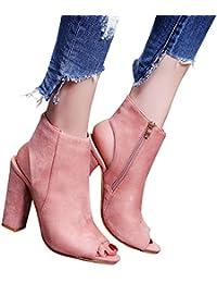 Mine Tom Minetom Verano Botines Shoes Mujer Sandalias Tacon Ancho Suede Caña Baja Botas con Cremalleras Oficina
