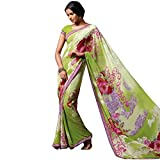 laxmipatti Light Green Floral Printed Georgette saree with Border.