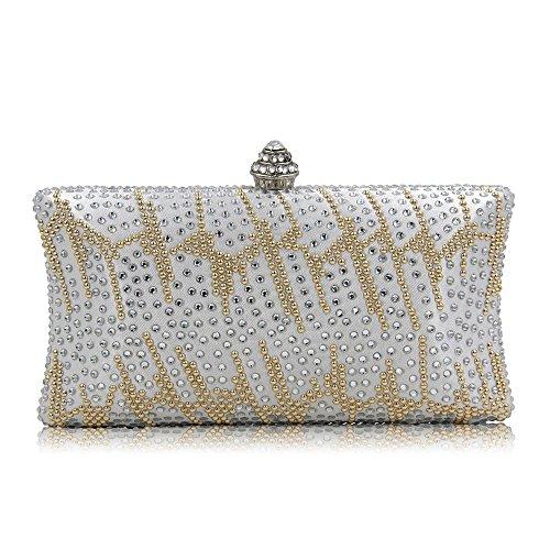 FFLLAS Satin Hot Bohrsack Fashion Abendtasche Set Diamond Handtasche Party Girl Bag Brautkleider...