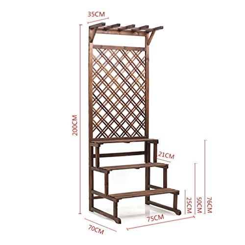 Multifunktionale antiseptische Holz-Blumen-Rack, kann suspendiert werden, Multi-Tier Balkon Pflanze Stand ( Farbe : C )