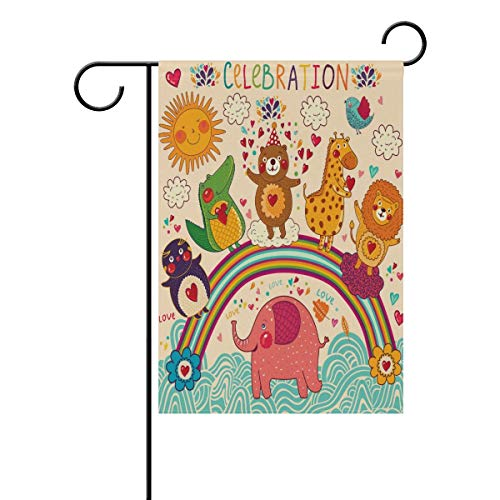 fdgjfghjdfj Happy Birthday Garden Flag Double Sided Home Decorative, Funny Lovely Bear Animals Greeting House Yard Flag, 12 x 18 Inch Holiday Party Outdoor Flag Best Birthday Gift