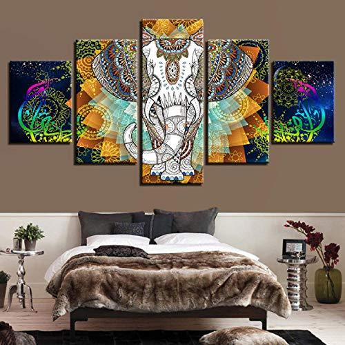 Indische Leinwand Kunst (WODES Hd Print Kunst Tier Leinwand Bild 5 Stück Indischer Elefant Und Abstrakte Farbe Blumenmalerei Modulare Schlafzimmer Wanddekor Kein Rahmen 30 * 40 * 2 30 * 60 * 2 30 * 80Cm)