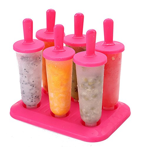 Unicoco Formen für Eis am Stiel, 6 Stück, aus lebensmittelechtem Kunststoff, mit Sockel 6.3 inch rot