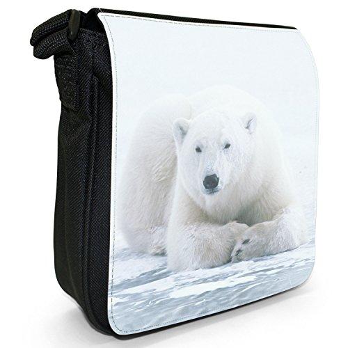 Orsi polari piccolo nero Tela Borsa a tracolla, taglia S Polar Bear Lying On Ice