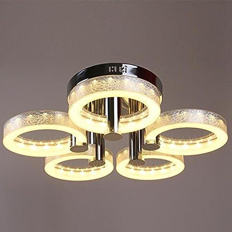 CAC Moderno 5 luces LED de montaje empotrado Arylic Lámparas de techo Iluminación lámpara con plata oro rojo 90-240 V Color Azul Golden