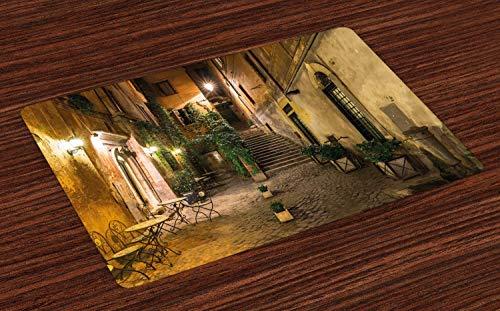 Soefipok Italienische Tischsets, Old Courtyard Rom Italien Cafe Stühle Stadt historische Häuser in der Straße, waschbare Stoff Tischsets für Esszimmer Küchentisch Dekor , 4er Set -