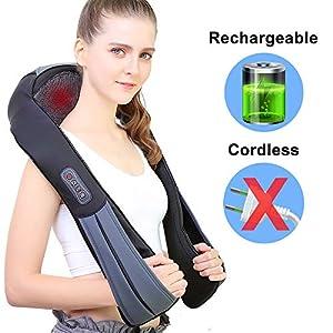 NURSAL Nackenmassagegerät, Elektrische Massagegerät mit Wärmefunktion für Schulter Nacken Rücken, 3D Rotation Masseur Massage für Zuhause, im Büro oder unterwegs