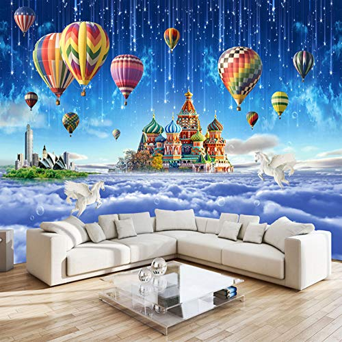 VVNASD 3D Wand Tapete Aufkleber Wandbilder Dekorationen Star Sky Castle Heißluftballon Meteorschauer Kinderzimmer Schlafzimmer Dekor Kunst Kinder Zimmer (W) 300X(H) 210Cm